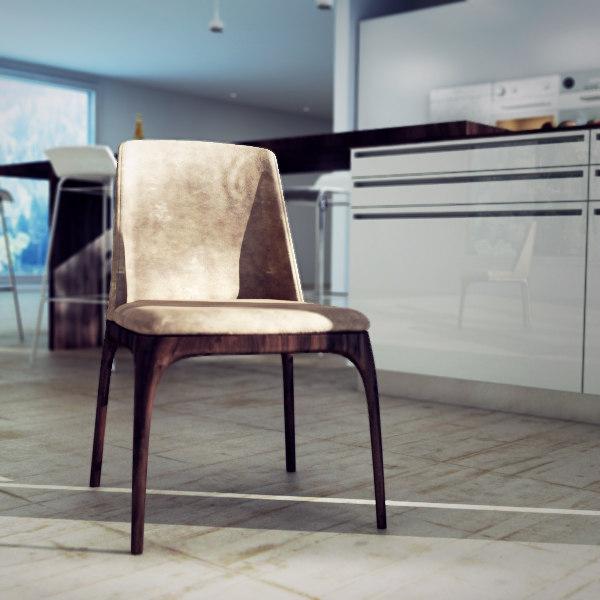 3d model poliform grace dining chair